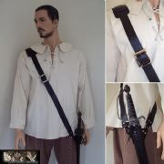 Black Leather Sword Baldric With Adjustable Frog